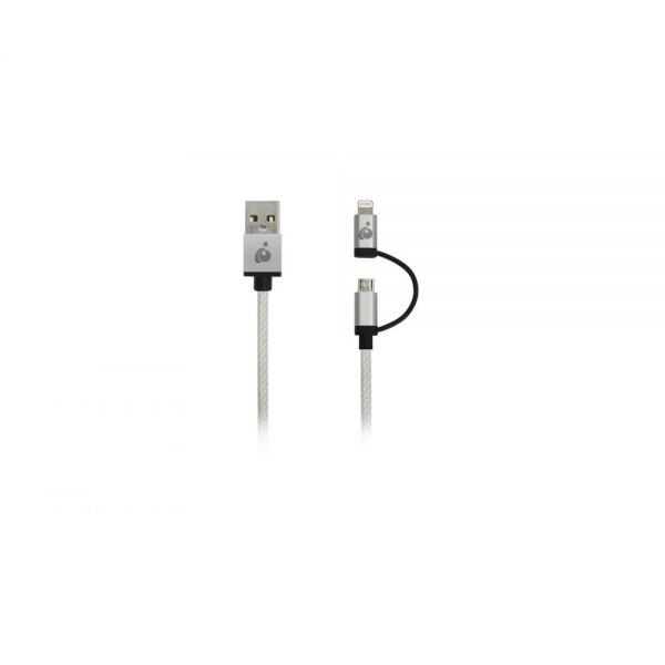 Iogear DuoLinq 2-in-1 Charge & Sync Cable - Silver