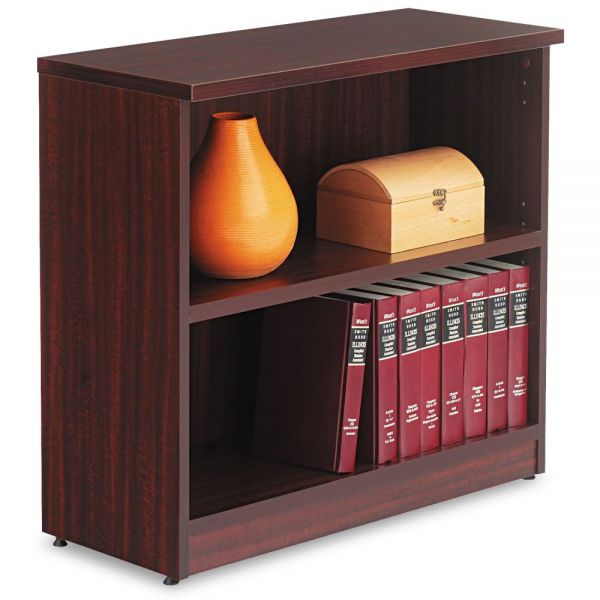 Alera Valencia Series Bookcase, Two-Shelf, 31 3/4w x 14d x 29 1/2h, Mahogany