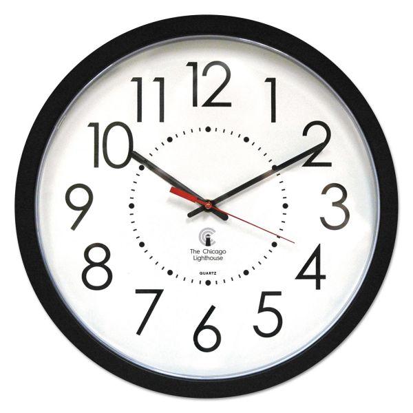 "Chicago Lighthouse Electric Contemporary Clock, 14-1/2"", Black"