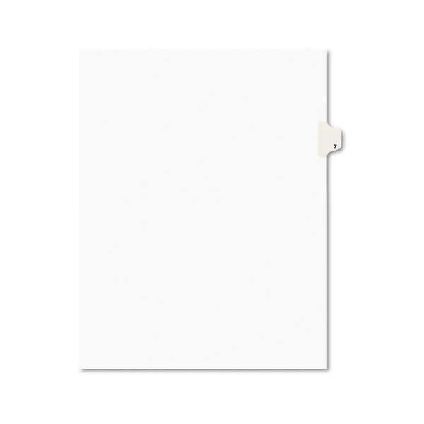 Avery Avery-Style Legal Exhibit Side Tab Divider, Title: 7, Letter, White, 25/Pack