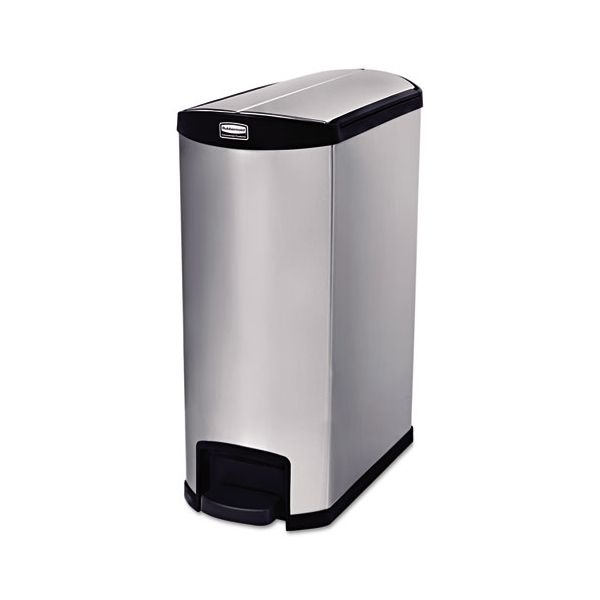 Rubbermaid Commercial Slim Jim Stainless Steel Step-On Container, End Step Style, 8 gal, Black