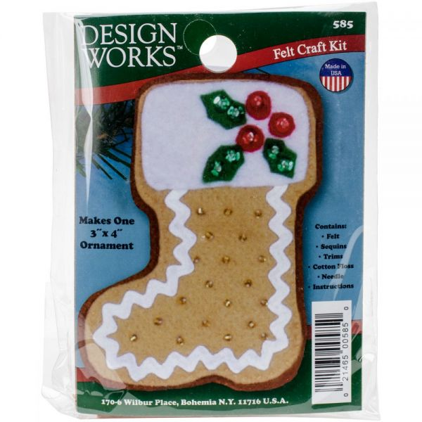 Gingerbread Stocking Ornament Felt Applique Kit