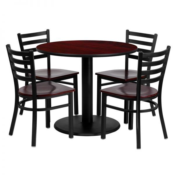 Flash Furniture 36'' Round Mahogany Laminate Table Set with 4 Ladder Back Metal Chairs - Mahogany Wood Seat