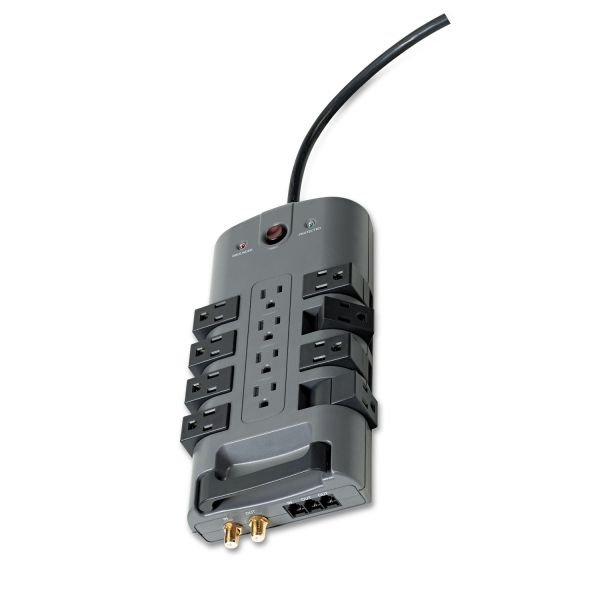 Belkin Pivot Plug Surge Protector, 12 Outlets, 8 ft Cord, 4320 Joules, Gray
