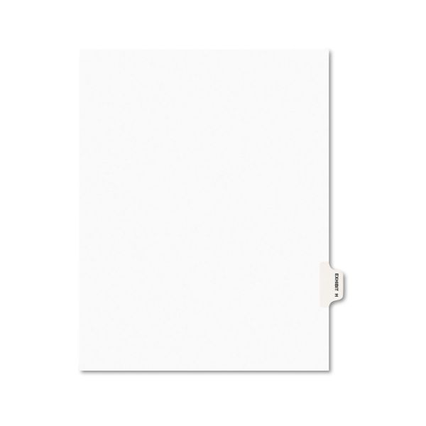 Avery-Style Preprinted Legal Side Tab Divider, Exhibit H, Letter, White, 25/Pack