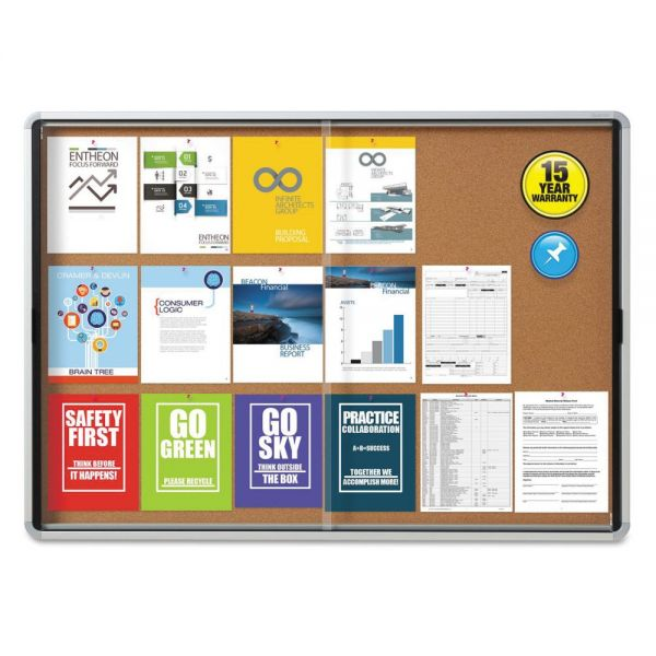 Quartet Enclosed Indoor Cork Bulletin Board with Sliding Glass Doors
