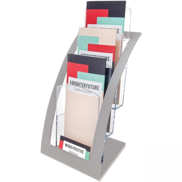 deflecto Three-Tier Leaflet Holder, 6 3/4w x 6 15/16d x 13 5/16h, Silver