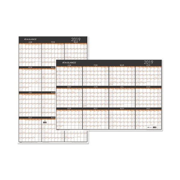 AT-A-GLANCE Contemporary Two-Sided Yearly Erasable Wall Planner, 24 x 36, 2019