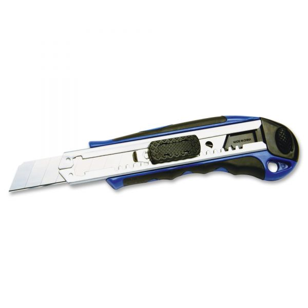 COSCO Heavy-Duty Snap Blade Utility Knife, Four 8-Point Blades, Retractable, Blue
