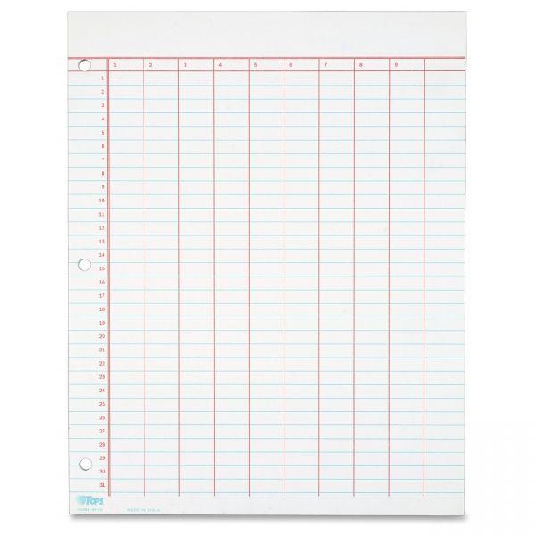 TOPS Summary 10 Column Data Sheets