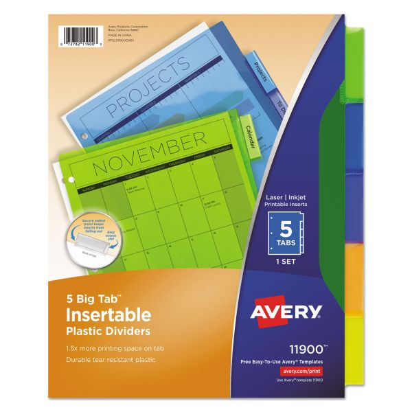 photograph relating to Avery Printable Tabs named Avery Insertable Significant Tab Plastic Dividers, 5-Tab, Multi-colour Tab, Letter, 1 Preset