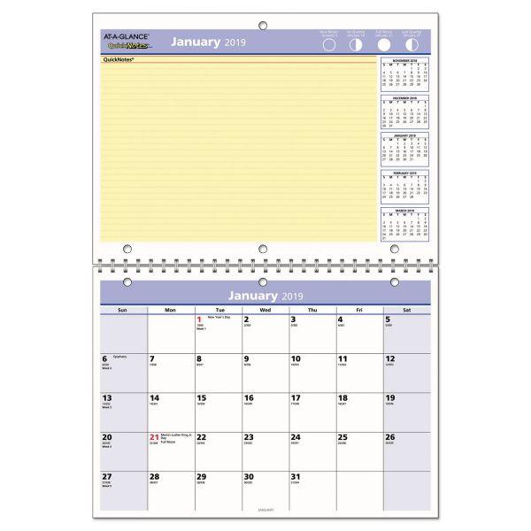 AT-A-GLANCE QuickNotes Desk/Wall Calendar, 11 x 8, 2019