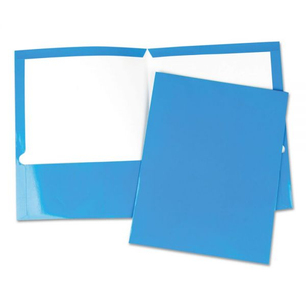 Universal Laminated Blue Two Pocket Folders