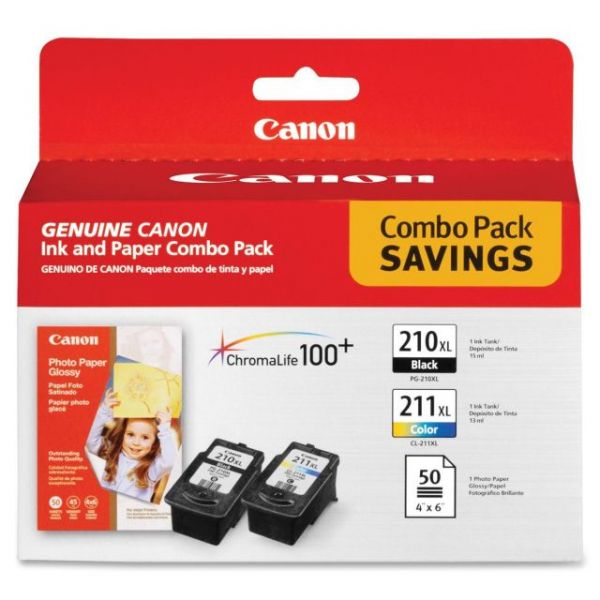 Canon PG-210 Black/CL-211 Color Ink Cartridges & Photo Paper Combo Pack