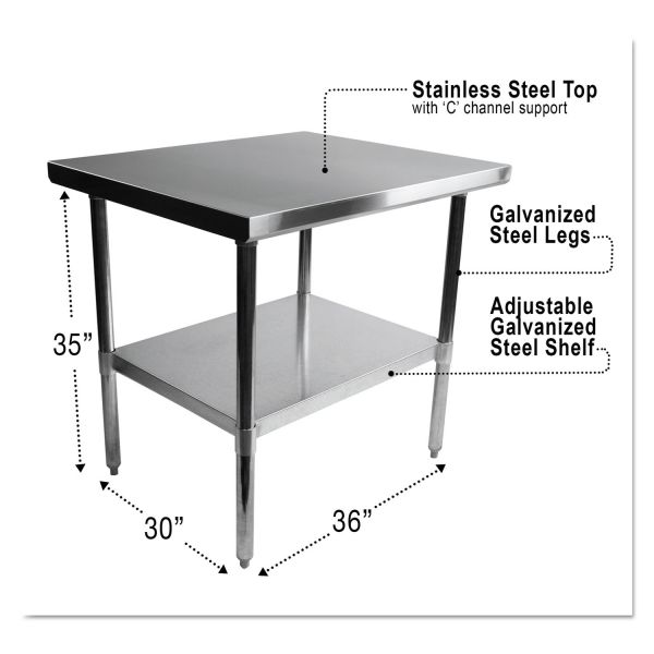 Alera Stainless Steel Table, 36 x 30 x 35, Silver