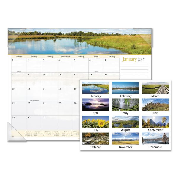 Visual Organizer Panoramic Landscape Monthly Desk Pad Calendar