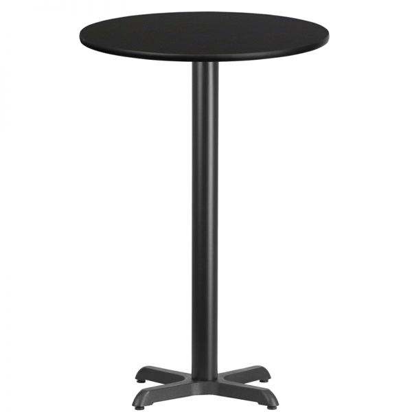 Flash Furniture 24'' Round Black Laminate Table Top with 22'' x 22'' Bar Height Table Base