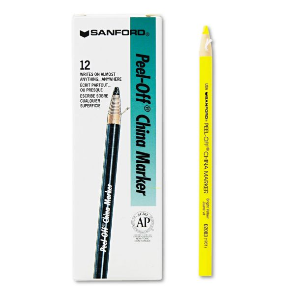 Sharpie Peel-Off China Markers, Yellow, Dozen