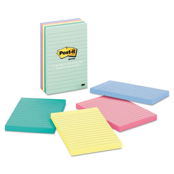 Post-it Notes Original Pads in Marseille Colors, Lined, 4 x 6, 100-Sheet, 5/Pack
