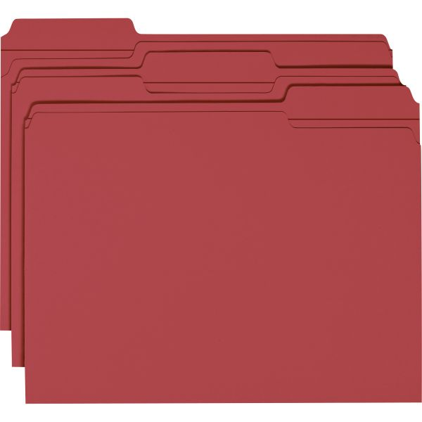 Smead Maroon Colored File Folders with Reinforced Tab
