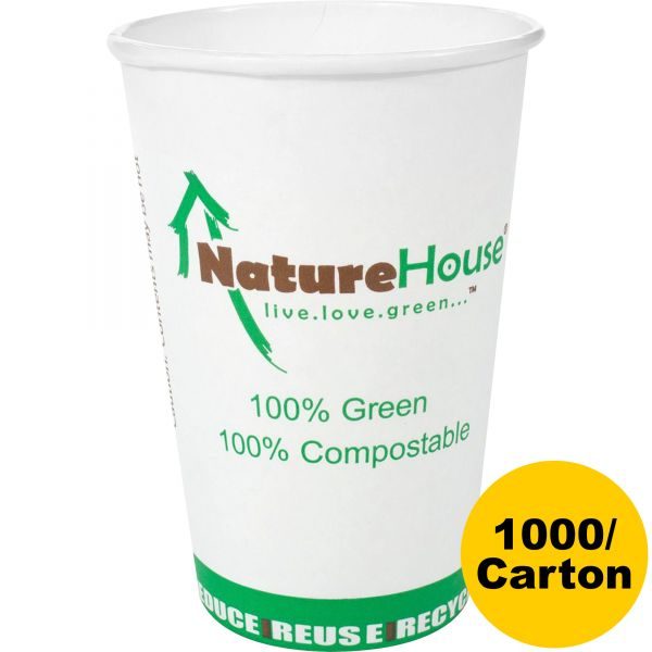 NatureHouse Compostable 8 oz Paper/PLA Cups
