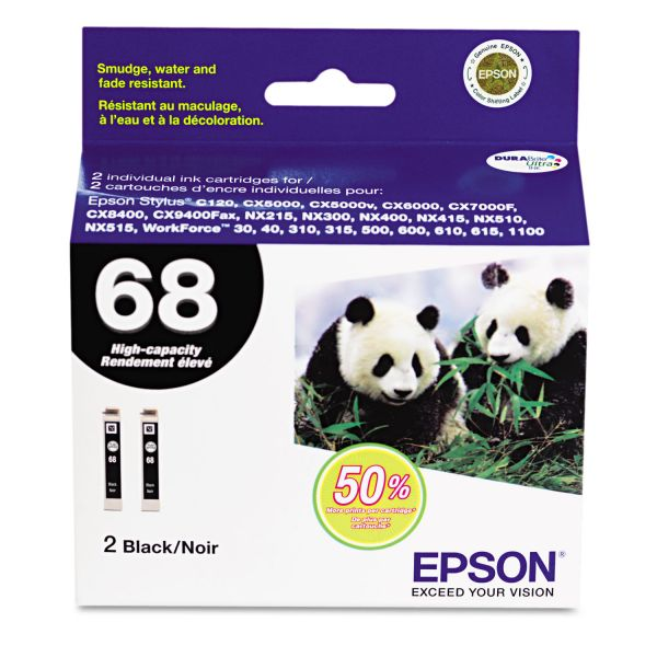 Epson 68 Black High Capacity Twin-Pack Ink Cartridges (T068120-D2)