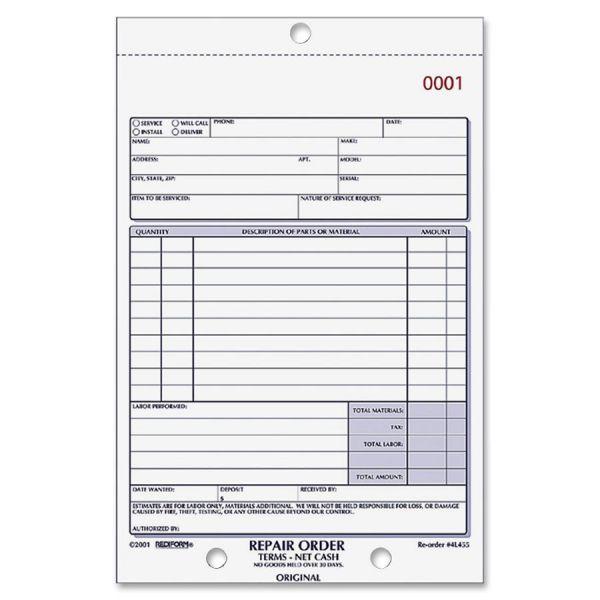 Rediform 3-part Carbonless Repair Order Book