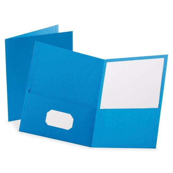 "Oxford Leatherette Two Pocket Portfolio, 8 1/2"" x 11"", Light Blue, 10/PK"