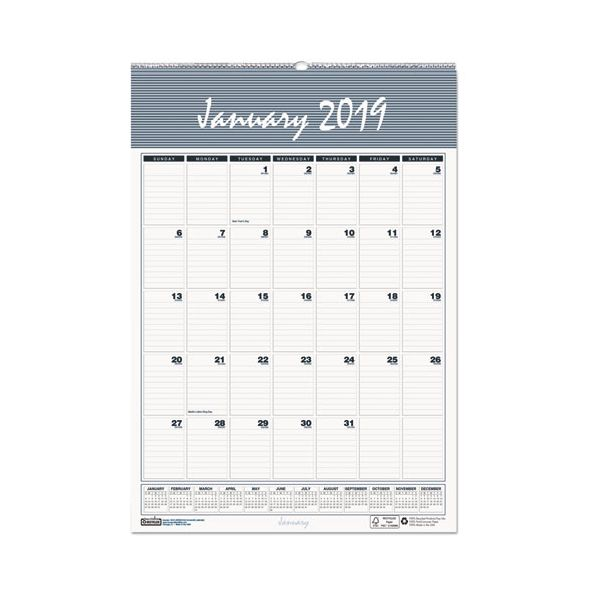 House of Doolittle Recycled Bar Harbor Wirebound Monthly Wall Calendar, 8 1/2 x 11, 2019