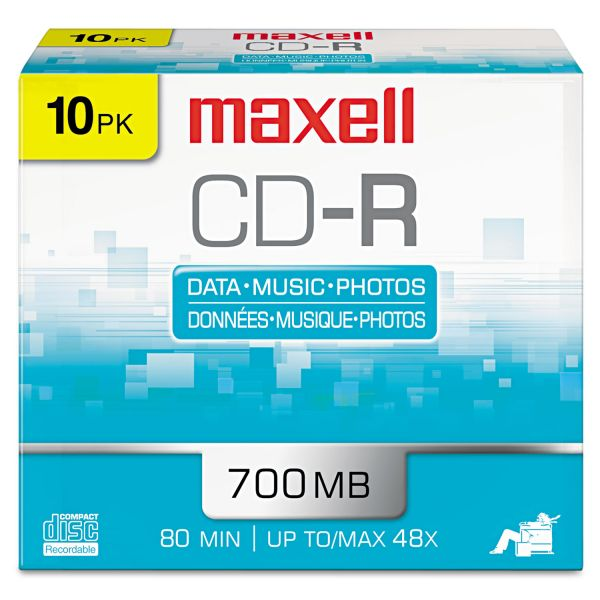 Maxell Recordable CD Media With Slim Jewel Cases