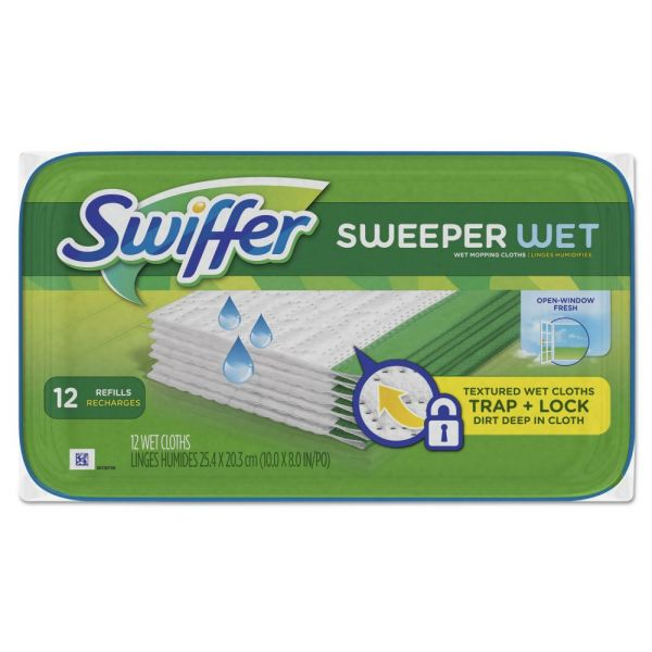 Swiffer Wet Refill Cloths, Open Window Fresh, Cloth, White, 8x10, 12/Tub, 12Tub/Carton
