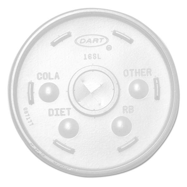 Dart Plastic Lids, for 16oz Hot/Cold Foam Cups, Straw-Slot Lid, White, 1000/Carton