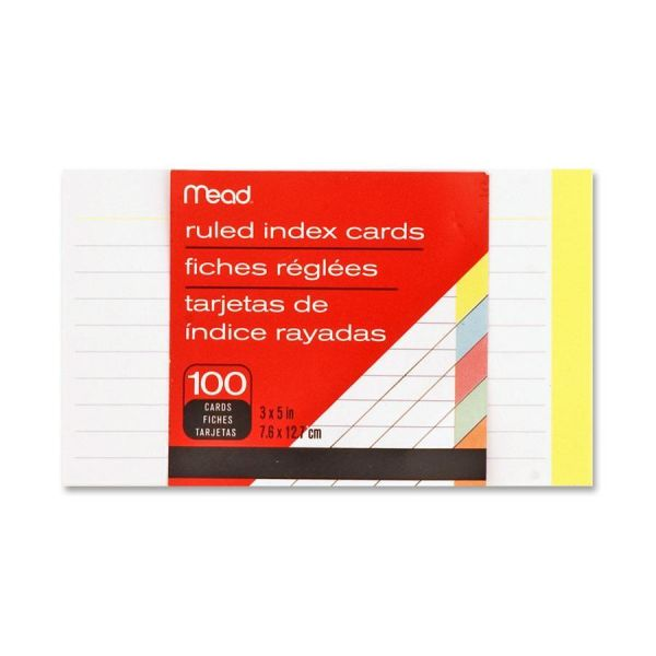"""Mead 3"""" x 5"""" Ruled Index Cards"""