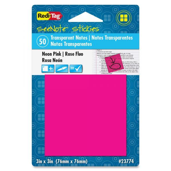 """Redi-Tag 3"""" x 3"""" Transparent Adhesive Note Pads"""