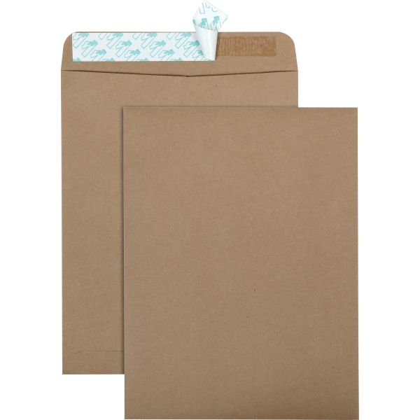 Quality Park 100% Recycled Brown Kraft Redi Strip Envelope, 9 x 12, Brown Kraft, 100/Box