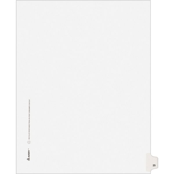 Avery-Style Legal Exhibit Side Tab Divider, Title: 25, Letter, White, 25/Pack