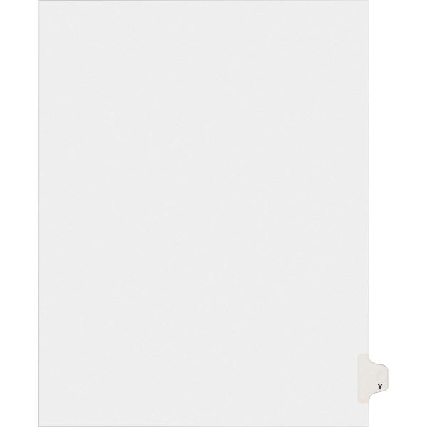 Avery Allstate-Style Legal Exhibit Side Tab Divider, Title: Y, Letter, White, 25/Pack