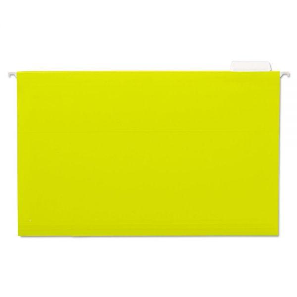 Universal Hanging File Folders, 1/5 Tab, 11 Point Stock, Legal, Yellow, 25/Box