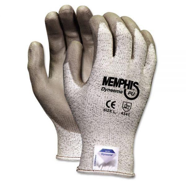 MCR Safety Memphis Dyneema Polyurethane Gloves, Large, White/Gray, Pair