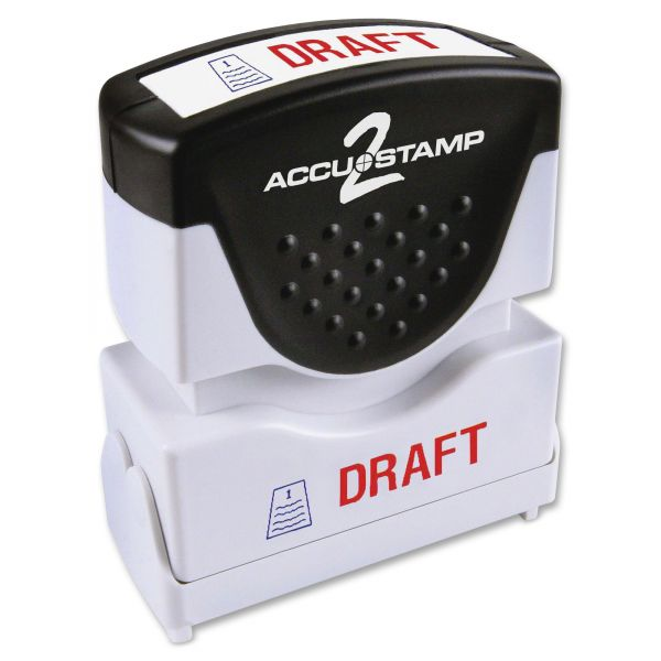 ACCUSTAMP2 Pre-Inked Shutter Stamp, Red/Blue, DRAFT, 1 5/8 x 1/2