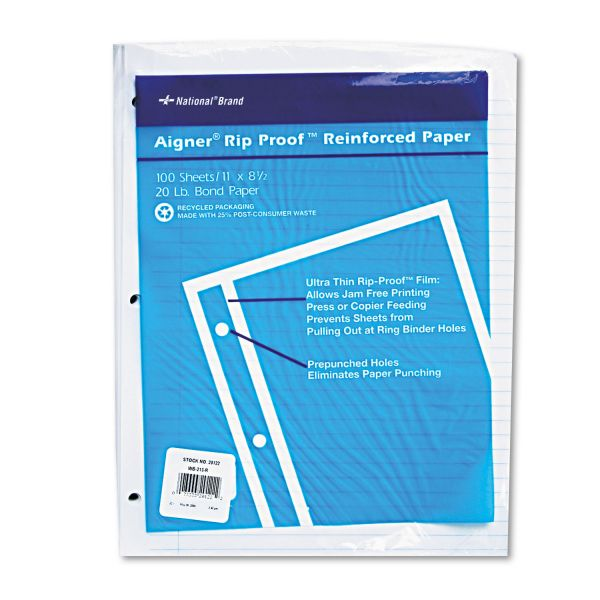 National Rip Proof Reinforced Filler Paper, Ruled, 20 lb, Letter, White, 100 Sheets/PK