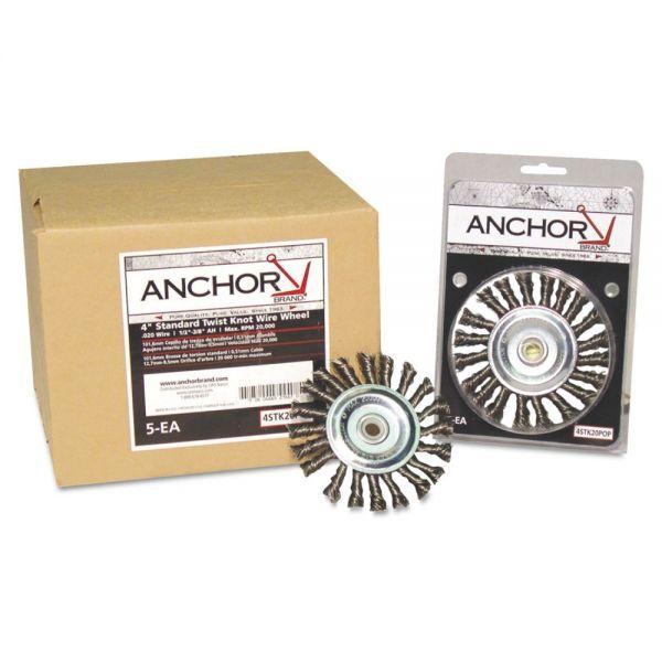 Anchor Brand Stringer Bead Wheel Brush, 6in Diameter, Carbon Steel, .02in Wire