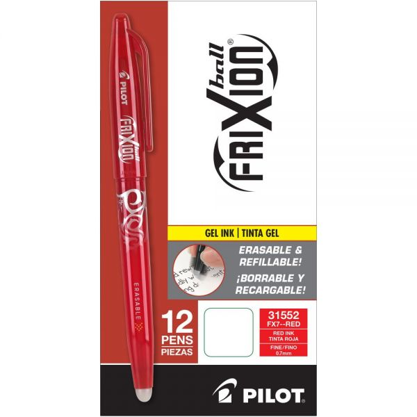 Pilot FriXion Ball Erasable Gel Ink Stick Pen, Red Ink, .7mm, Dozen