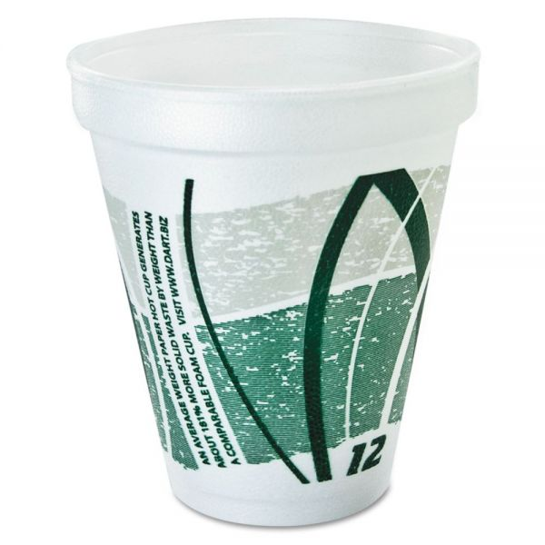 Dart Impulse Hot/Cold Foam Drinking Cups, 12oz., Printed, Green/Gray, 25/Bag, 40/CT