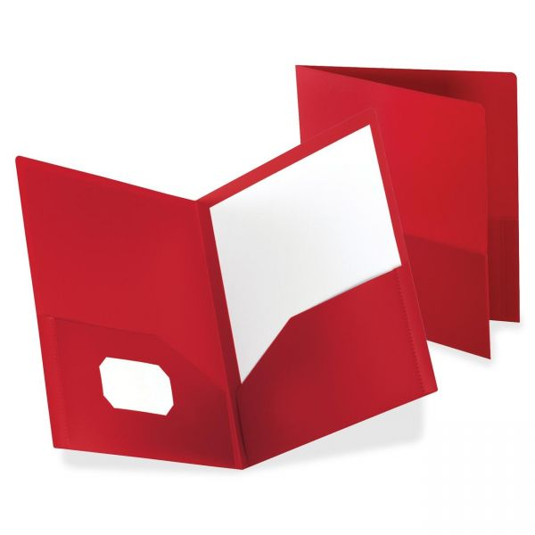 Oxford Plastic Red Two Pocket Folders