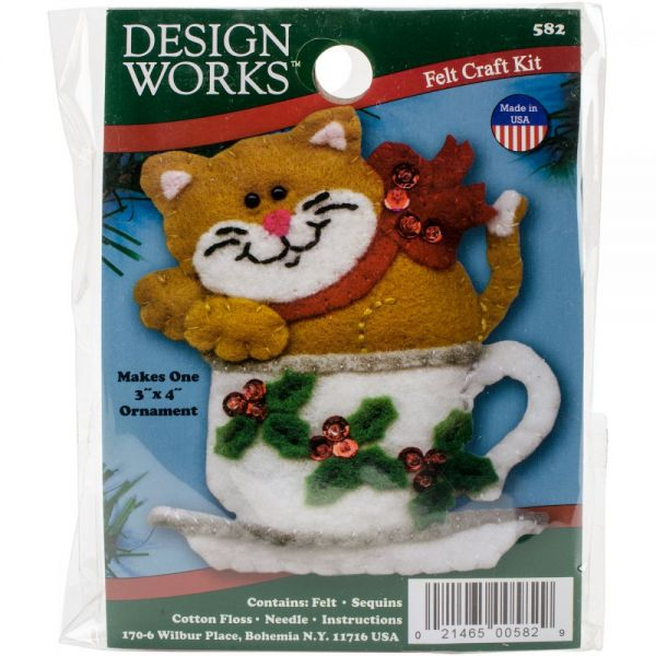Teacup Cat Ornament Felt Applique Kit