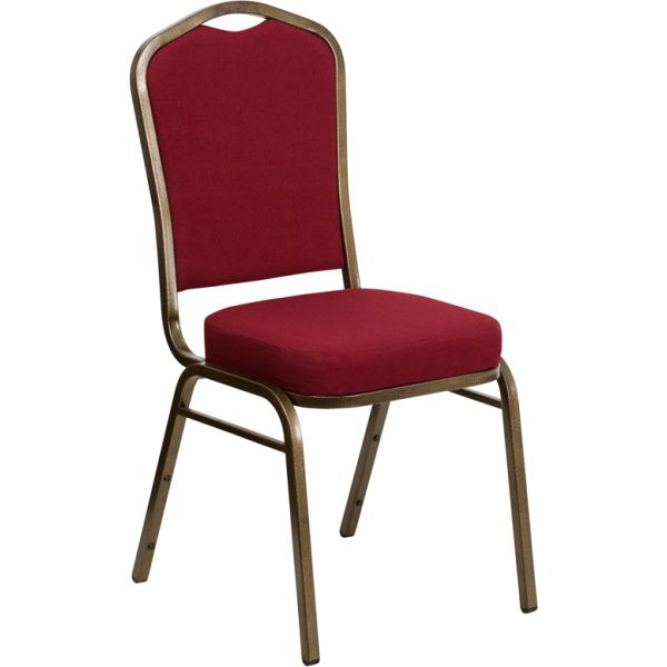 Flash Furniture HERCULES Series Crown Back Stacking Banquet Chair with Burgundy Fabric and 2.5'' Thick Seat - Gold Vein Frame