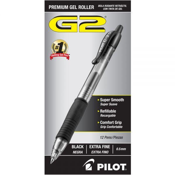 Pilot G2 Premium Retractable Gel Ink Pen, Refillable, Black Ink, .5mm, Dozen