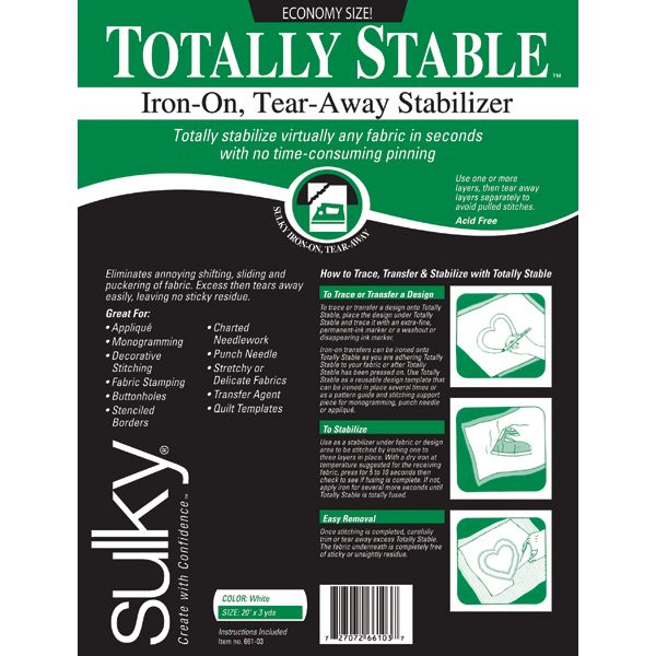 Totally Stable Iron-On Tear-Away Stabilizer