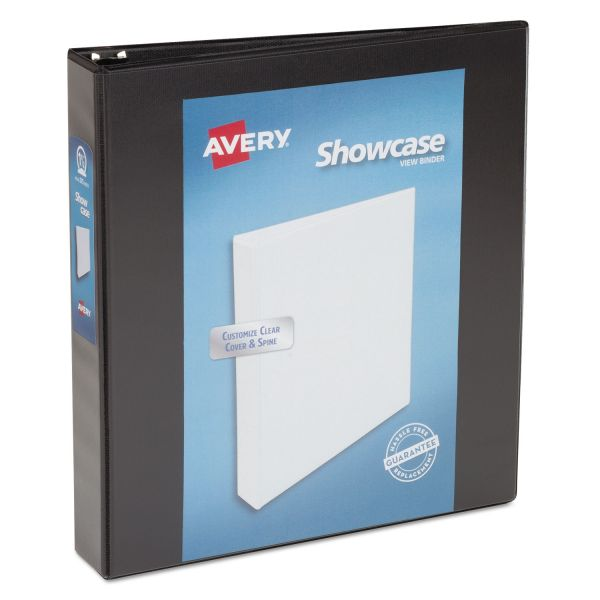 "Avery Showcase Economy 3-Ring View Binder, 1 1/2"" Capacity, Round Ring, Black"